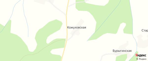 Карта Кожуховской деревни в Архангельской области с улицами и номерами домов