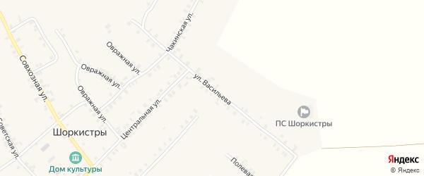 Улица Васильева на карте села Шоркистры с номерами домов