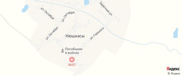 Улица Горького на карте деревни Нюшкас с номерами домов