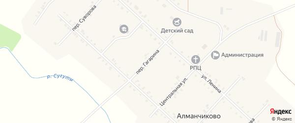 Переулок Гагарина на карте села Алманчиково с номерами домов