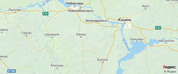 Карта Янтиковского района Республики Чувашии с городами и населенными пунктами