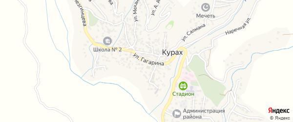 Улица Гагарина на карте села Кураха Дагестана с номерами домов