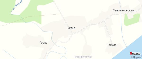 Карта деревни Устья в Архангельской области с улицами и номерами домов