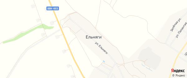 Карта деревни Ельняги в Марий Эл с улицами и номерами домов