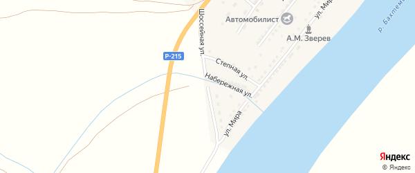 Шоссейная улица на карте поселка Анатолии Зверева Астраханской области с номерами домов