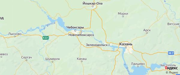 Карта Мариинско-посадского района Республики Чувашии с городами и населенными пунктами