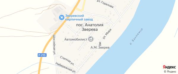 Садовая улица на карте поселка Анатолии Зверева Астраханской области с номерами домов