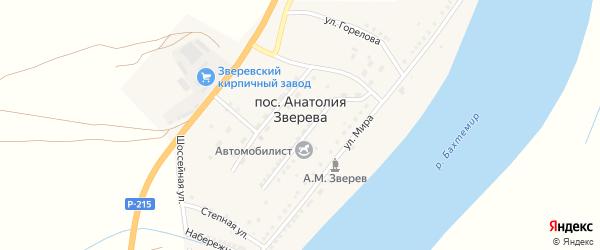Улица Полянского на карте поселка Анатолии Зверева с номерами домов
