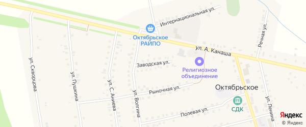 Заводская улица на карте Октябрьского села с номерами домов