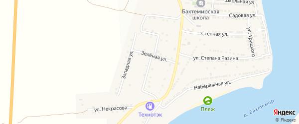 Улица Лермонтова на карте села Бахтемира Астраханской области с номерами домов