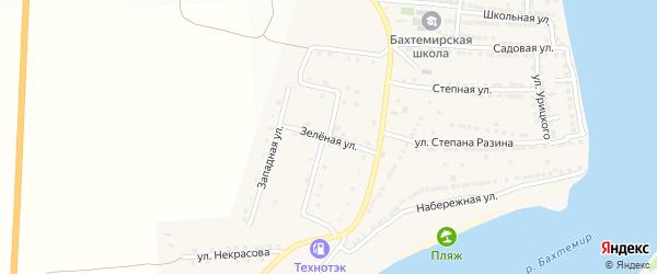 Зеленая улица на карте села Бахтемира Астраханской области с номерами домов
