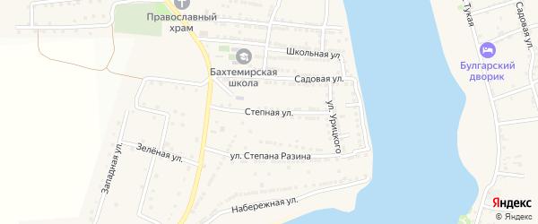 Степная улица на карте села Бахтемира Астраханской области с номерами домов