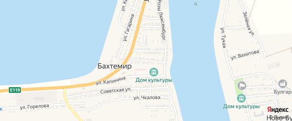 Пионерская улица на карте села Бахтемира Астраханской области с номерами домов