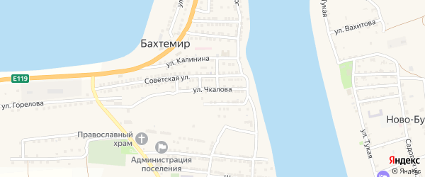 Улица Чкалова на карте села Бахтемира Астраханской области с номерами домов