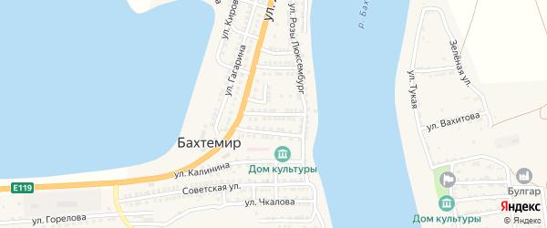 Комсомольская улица на карте села Бахтемира Астраханской области с номерами домов
