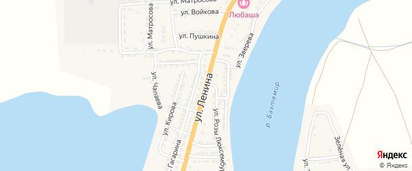 Улица Ленина на карте села Бахтемира Астраханской области с номерами домов