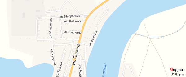 Улица Зверева на карте села Бахтемира Астраханской области с номерами домов