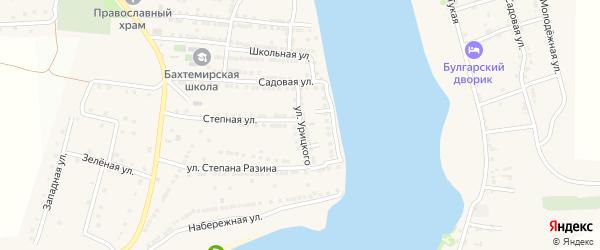 Улица Урицкого на карте села Бахтемира Астраханской области с номерами домов