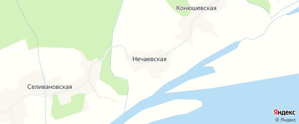 Карта Нечаевской деревни в Архангельской области с улицами и номерами домов