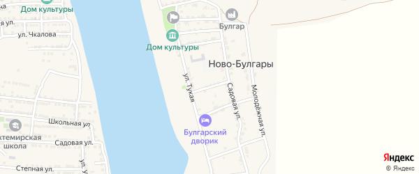 Садовая 1-я улица на карте села Ново-Булгары Астраханской области с номерами домов