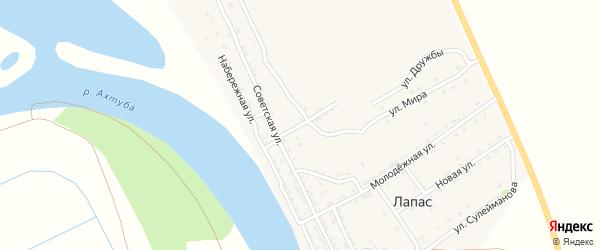 Советский переулок на карте села Лапаса Астраханской области с номерами домов