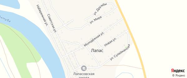 Молодежная улица на карте села Лапаса Астраханской области с номерами домов