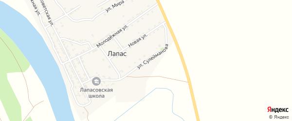 Улица Сулейманова на карте села Лапаса Астраханской области с номерами домов