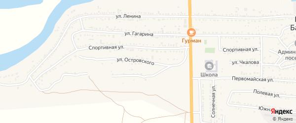 Улица Островского на карте поселка Красные Баррикады Астраханской области с номерами домов