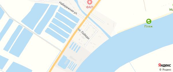 Улица Площадь Победы на карте села Алгаза Астраханской области с номерами домов