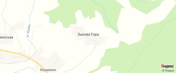 Карта деревни Зыковой Гора в Архангельской области с улицами и номерами домов