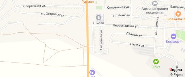Магистральная улица на карте поселка Красные Баррикады Астраханской области с номерами домов