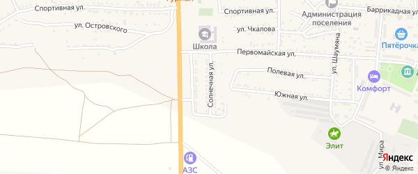 Солнечная улица на карте поселка Красные Баррикады Астраханской области с номерами домов