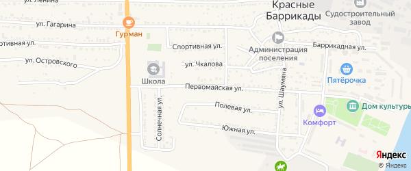 Первомайская улица на карте поселка Красные Баррикады Астраханской области с номерами домов
