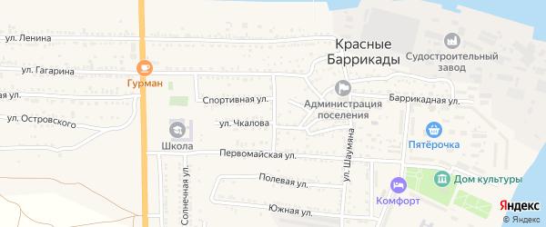 Улица Калинина на карте поселка Красные Баррикады Астраханской области с номерами домов