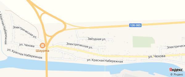 Звездная улица на карте поселка Красные Баррикады Астраханской области с номерами домов