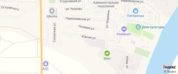 Южная улица на карте поселка Красные Баррикады Астраханской области с номерами домов