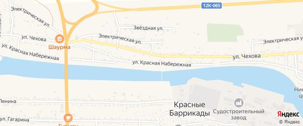 Красная Набережная улица на карте поселка Красные Баррикады Астраханской области с номерами домов