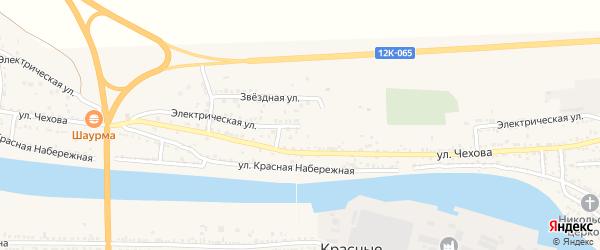 Электрическая улица на карте поселка Красные Баррикады Астраханской области с номерами домов