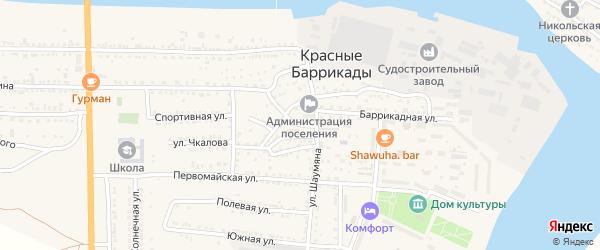 Улица Академика Крылова на карте поселка Красные Баррикады Астраханской области с номерами домов