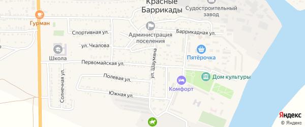 Улица Шаумяна на карте поселка Красные Баррикады Астраханской области с номерами домов
