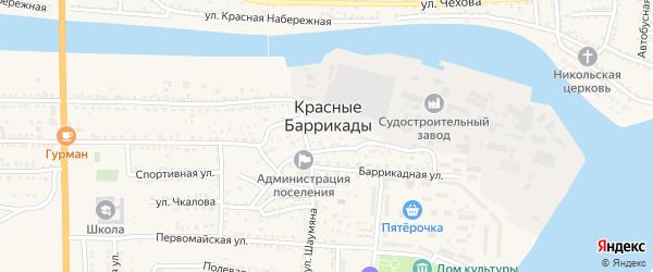 Переулок Калинина на карте поселка Красные Баррикады Астраханской области с номерами домов