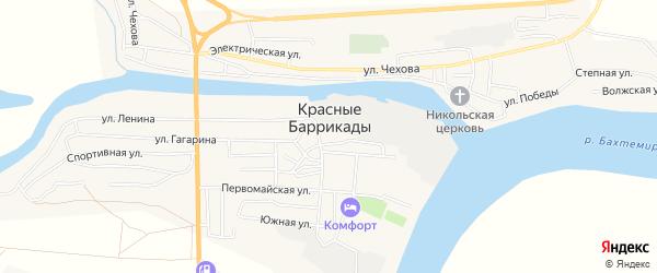 Садовое товарищество Судостроитель-1 на карте поселка Красные Баррикады Астраханской области с номерами домов