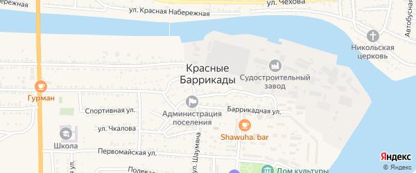 Тихий переулок на карте поселка Красные Баррикады Астраханской области с номерами домов