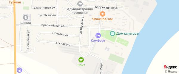 Молодежная улица на карте поселка Красные Баррикады Астраханской области с номерами домов