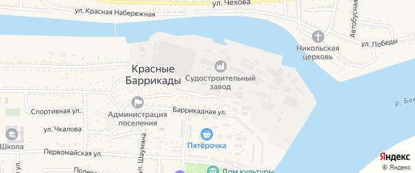 Рабочая улица на карте поселка Красные Баррикады Астраханской области с номерами домов