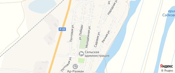 Молодежная улица на карте Волжского села Астраханской области с номерами домов