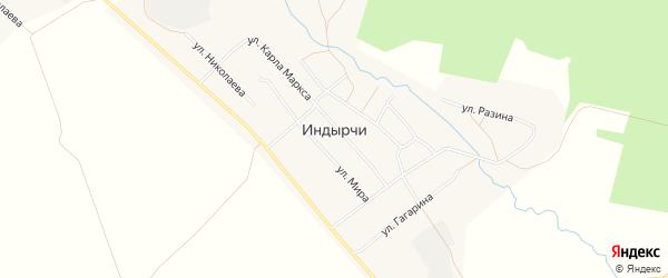 Карта деревни Индырч в Чувашии с улицами и номерами домов