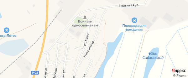 Народная улица на карте Волжского села Астраханской области с номерами домов