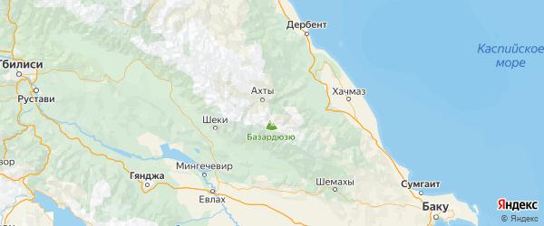 Карта Докузпаринского района Республики Дагестана с городами и населенными пунктами
