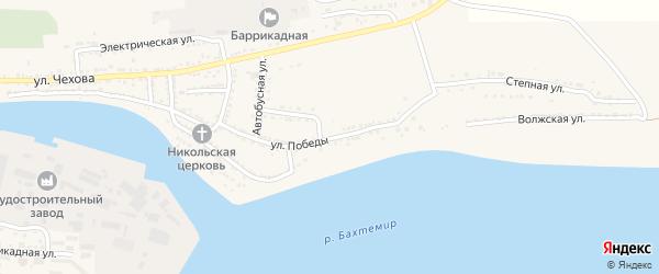 Улица Победы на карте поселка Красные Баррикады Астраханской области с номерами домов